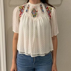 ZARA Embroidered Lace Crop Top Size S